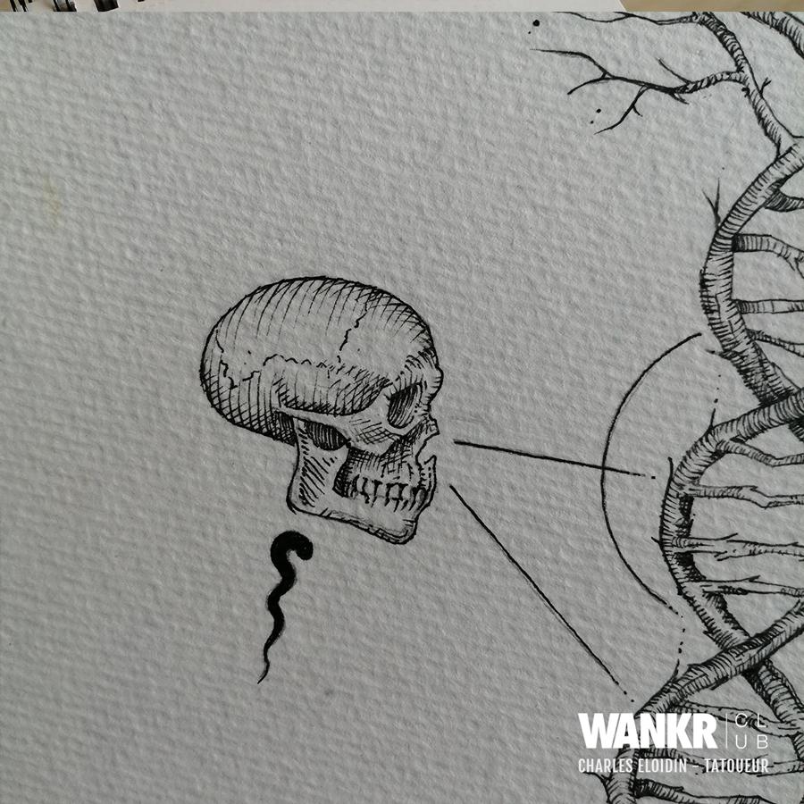 skull DNA tattoo