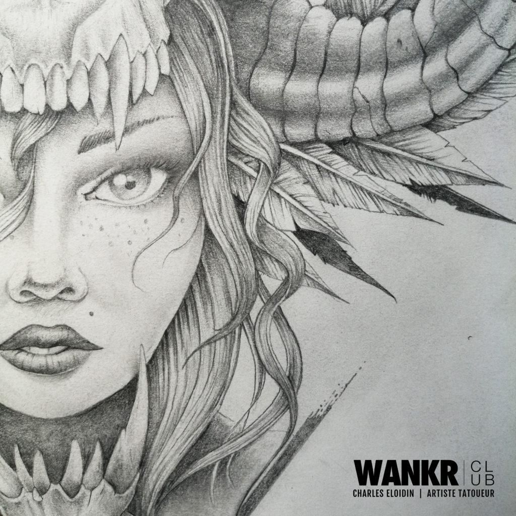tattoo femme, dos, détail